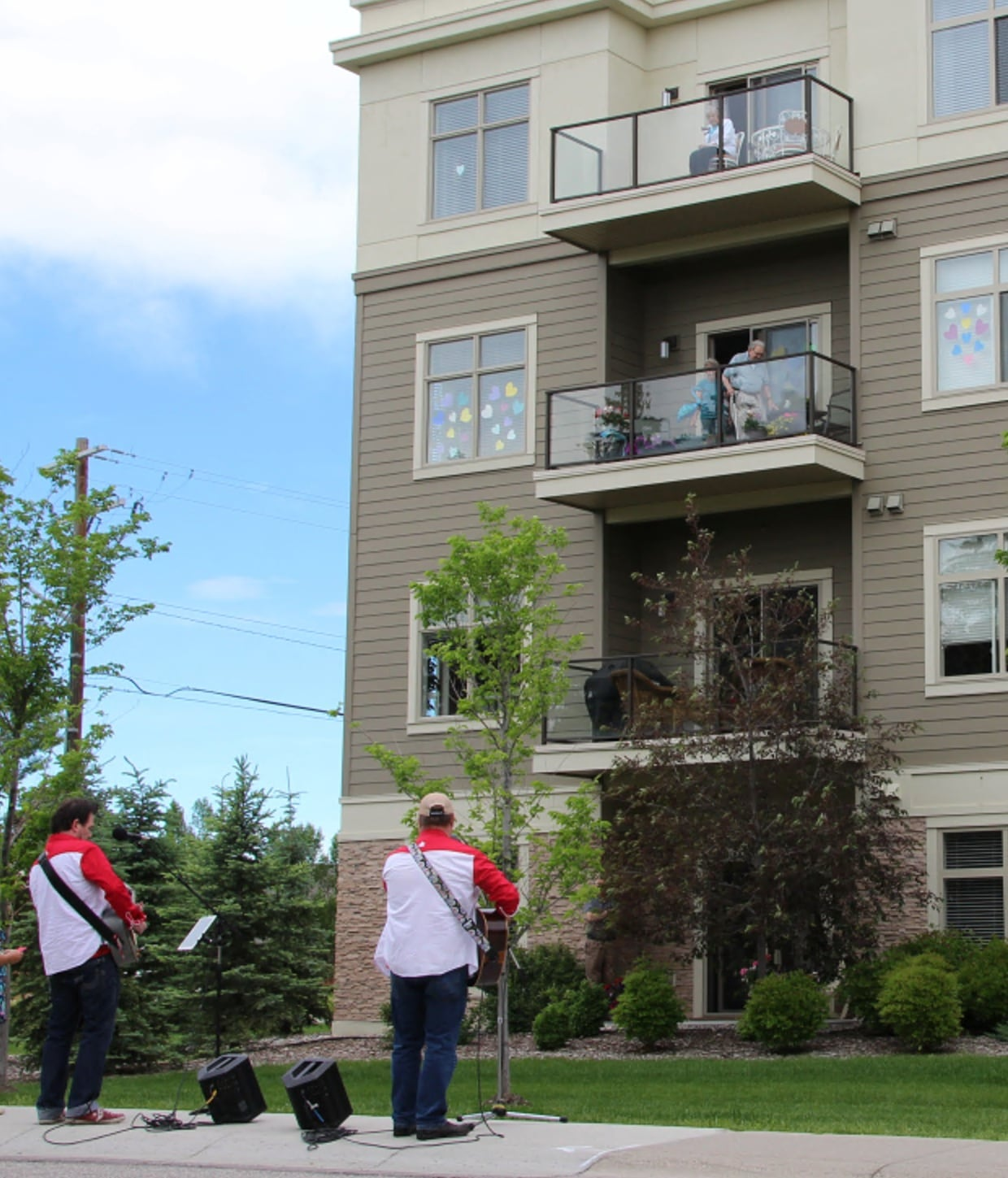 The Awesome Brothers serenaded residents on their balconies