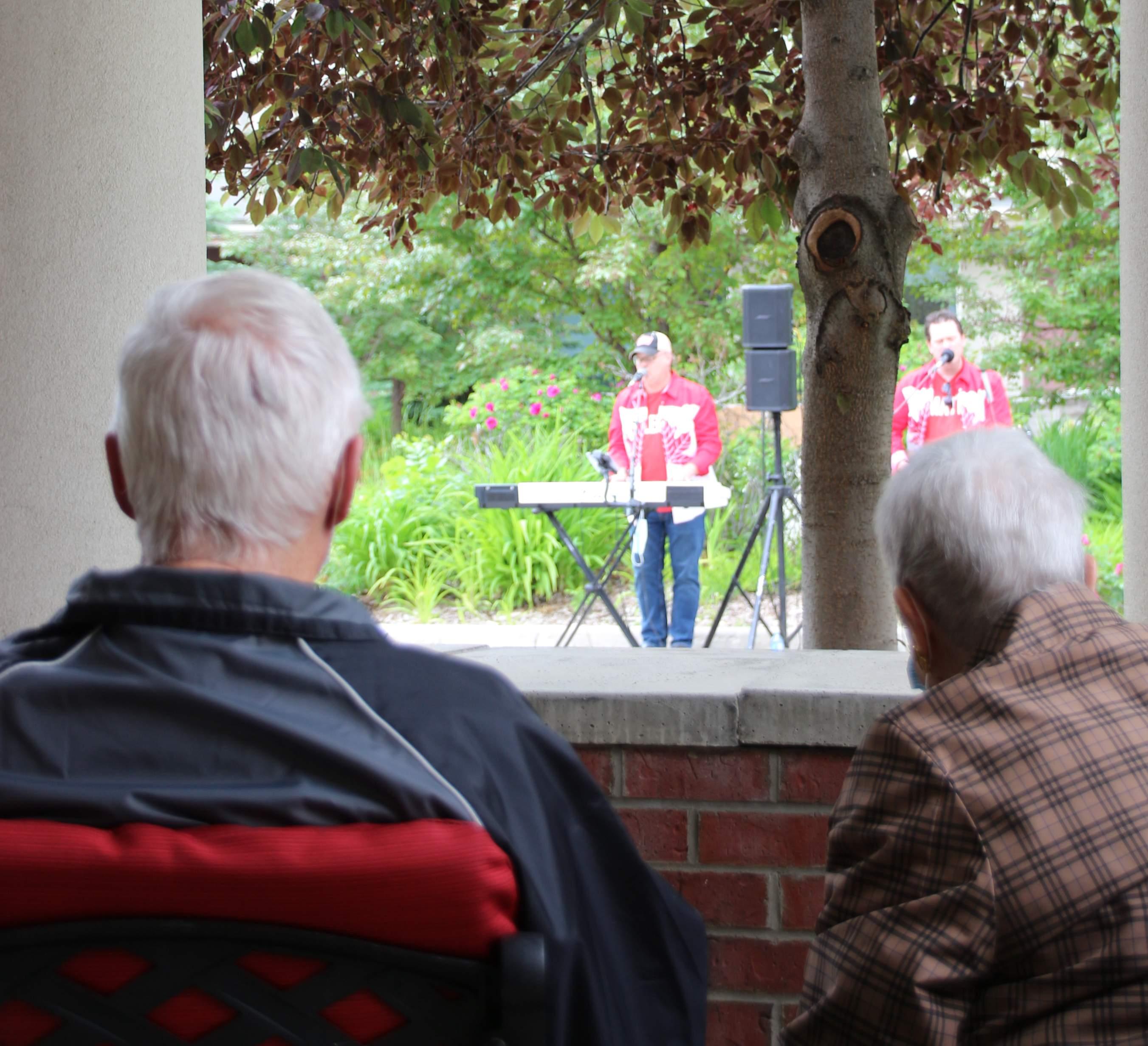Enjoying the show in the courtyard