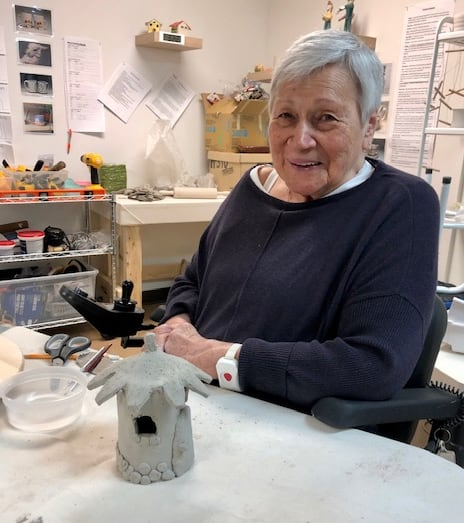 Garrison Green resident Thelma Scheunhage with her fairy house