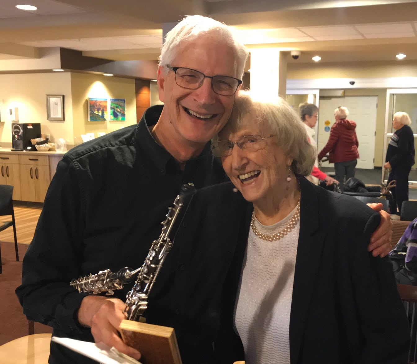 CPO musician David Sussman with resident Mary Fenwick