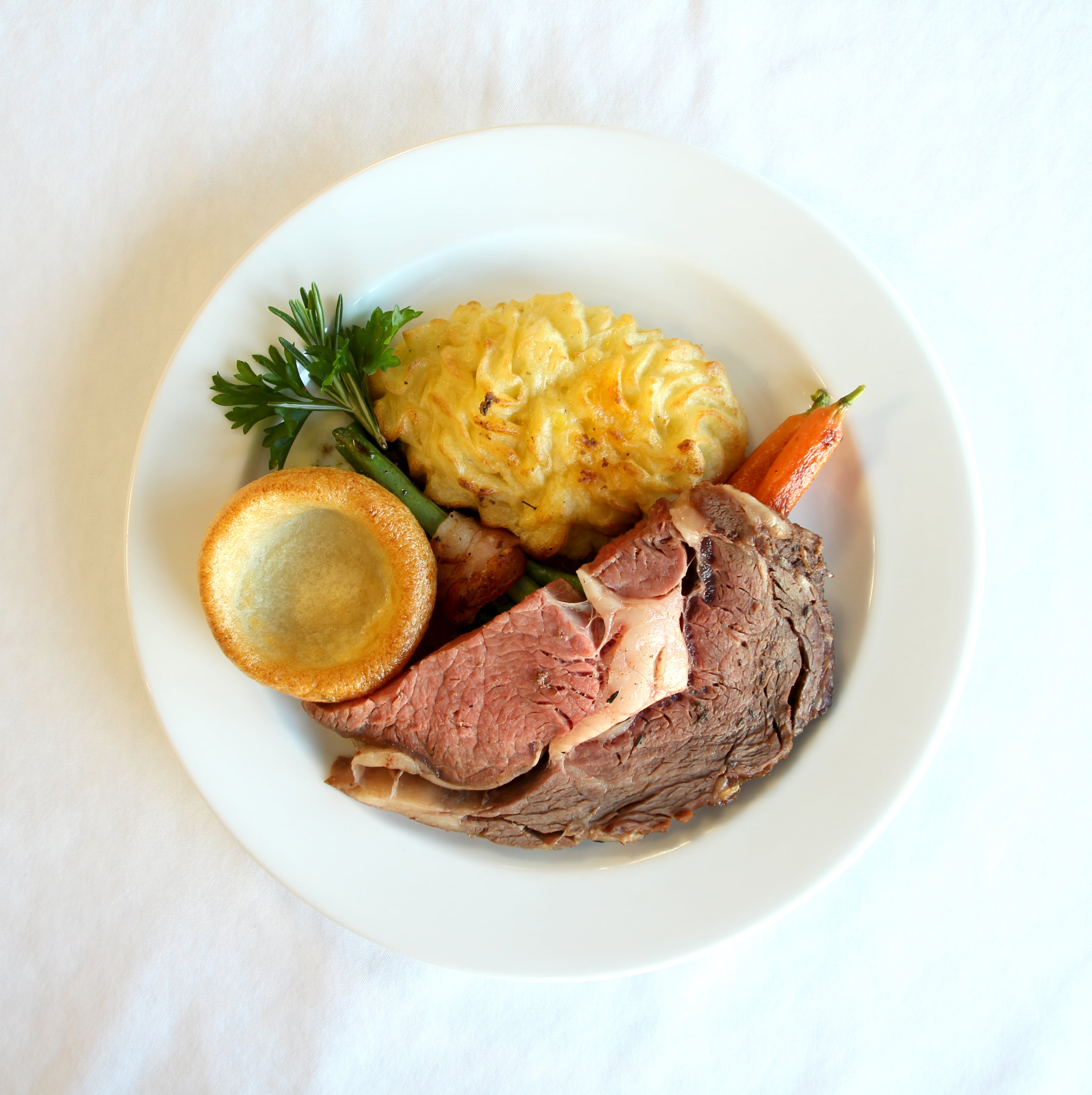 The prime rib was done just right!