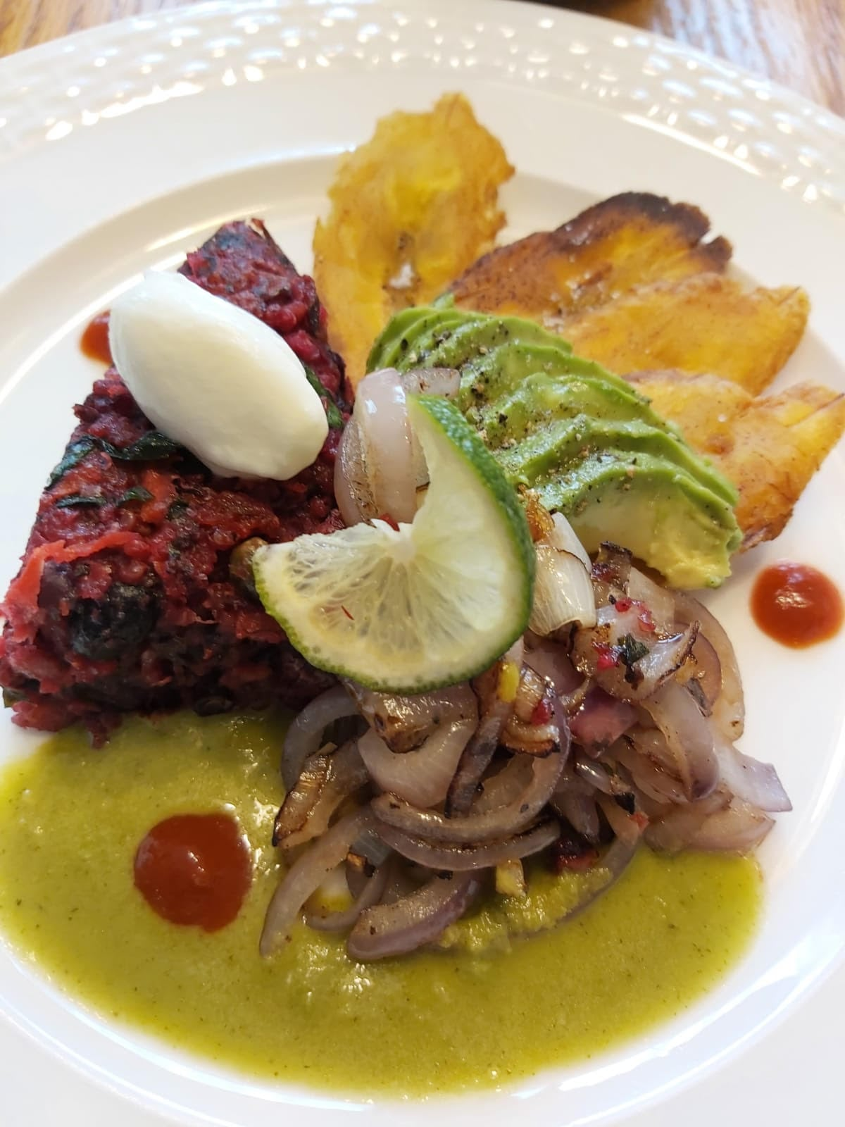 Vegetable hash with plantains and chimichurri