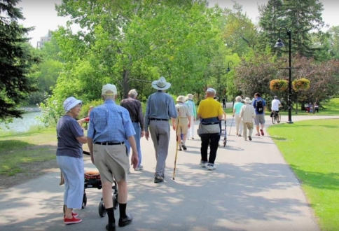 United Active Living at Garrison Green residents enjoy a walk in a Calgary park