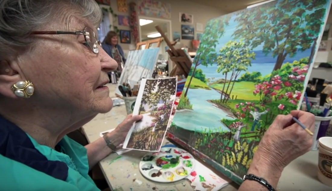 Garrison Green resident in art studio