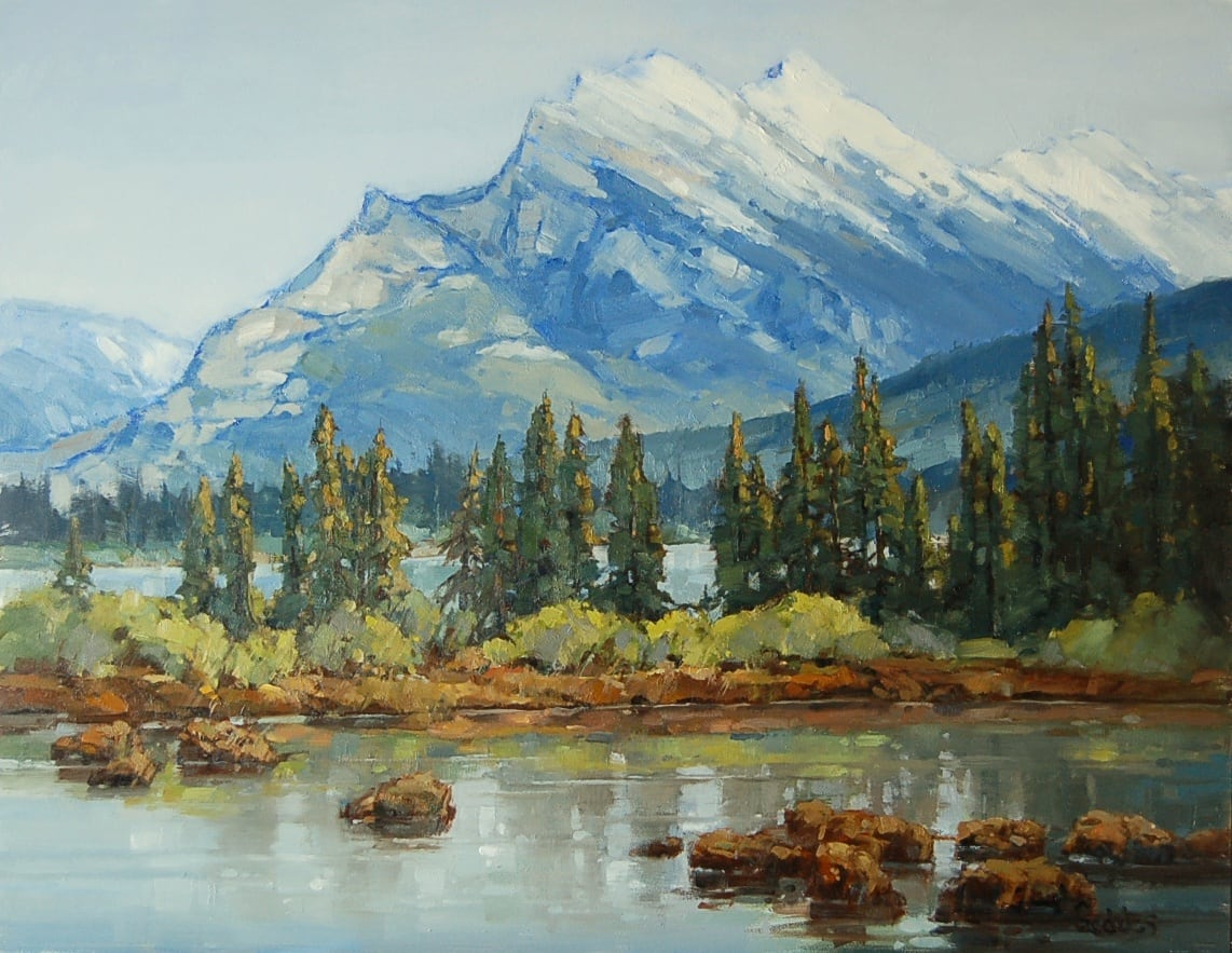 Jean's finished painting of Mount Rundle