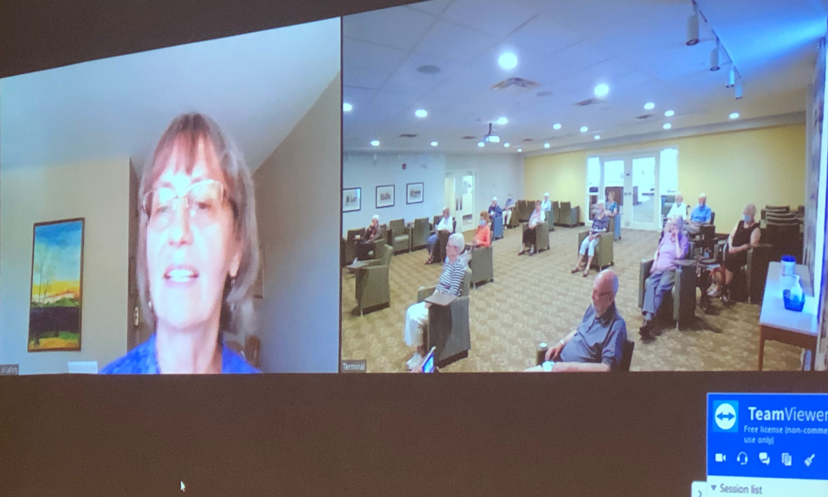 Jill LaForty with residents in a virtual music appreciation program