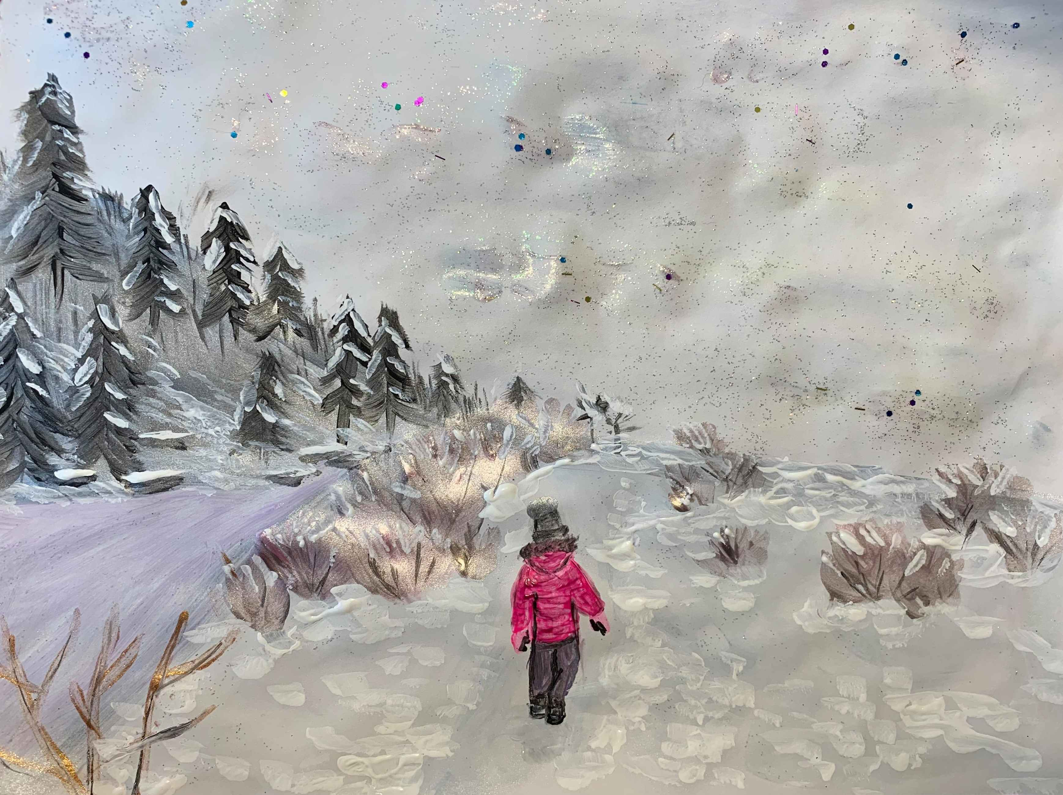 Painting by Jim's granddaughter Melissa of Mellissa's daughter walking in the snow