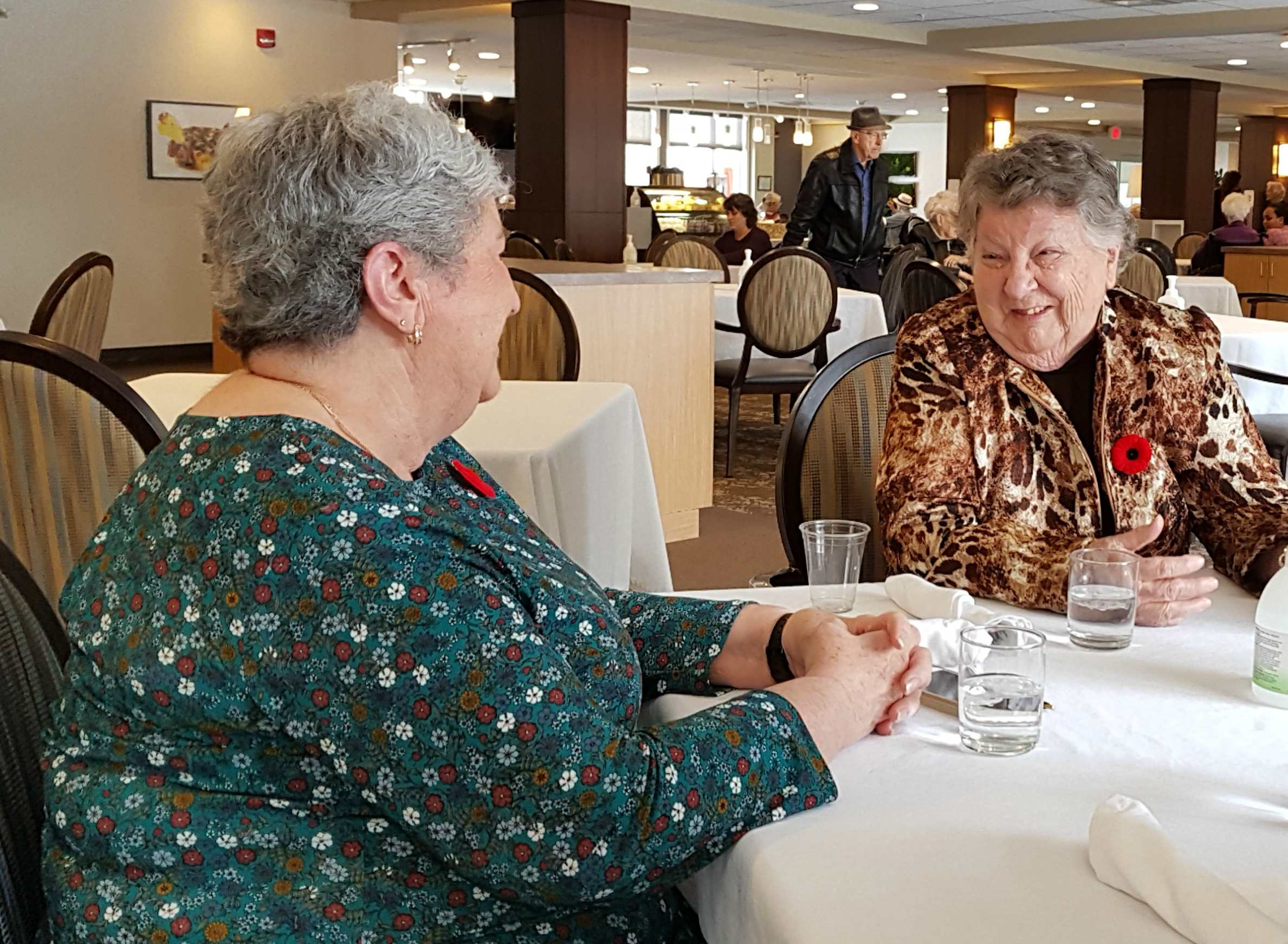 Joan Patterson, left, and Sheila Brinsmead share a laugh at lunch