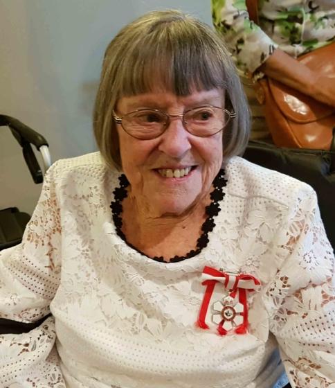 Joyce Doolittle proudly wears her Order of Canada medal