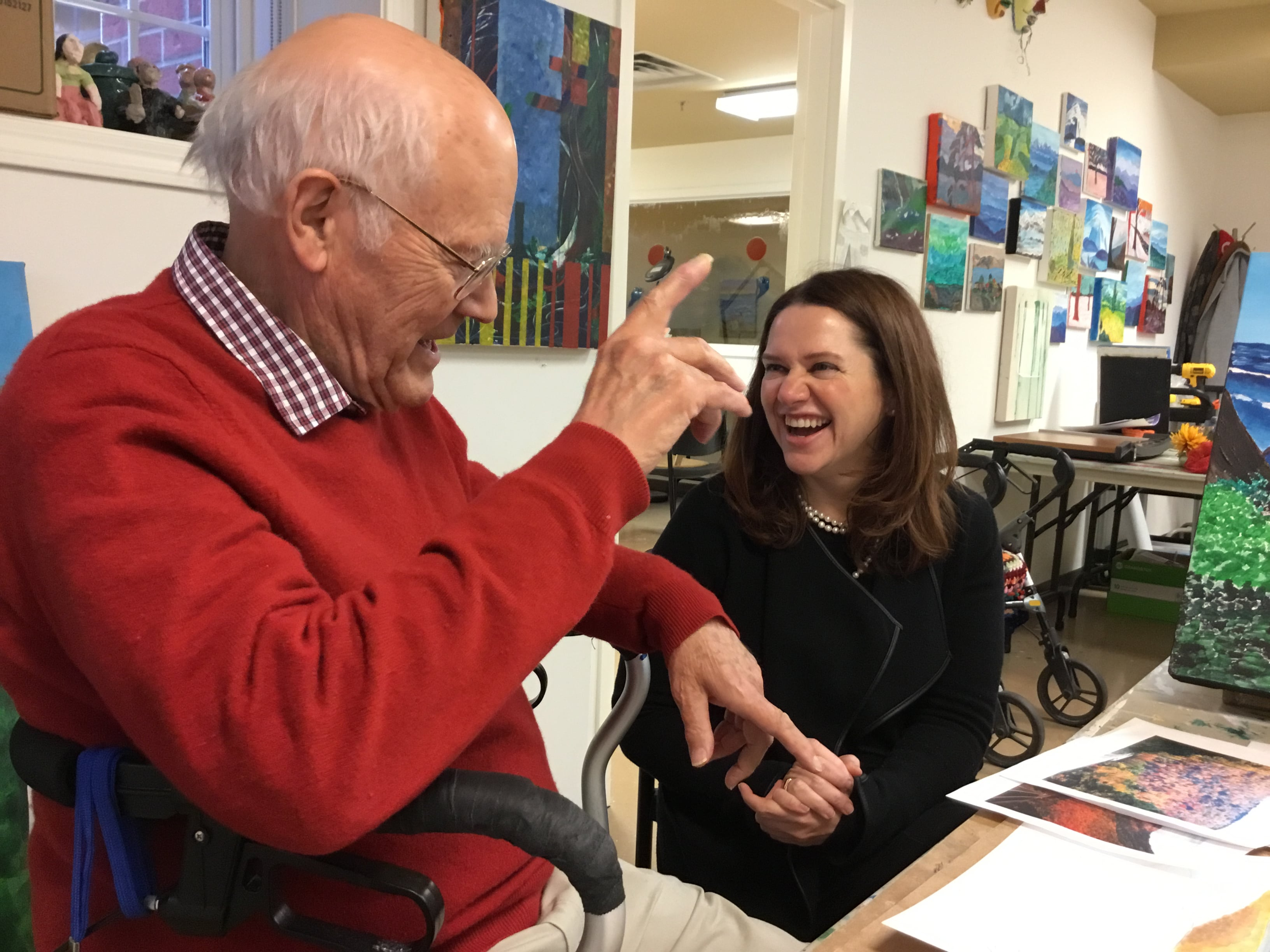 CEO Kim O'Brien shares a laugh with resident Jim Dolph
