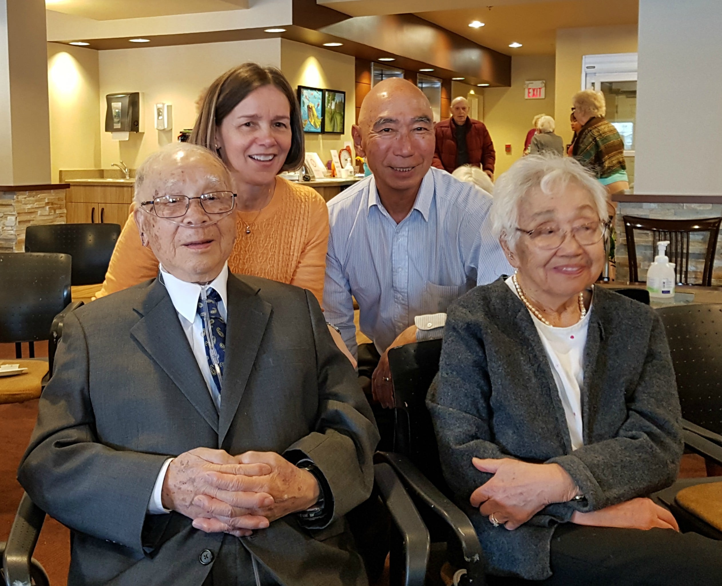 Hugh Kuwahara celebrates his 104th birthday with wife Kay and their two children