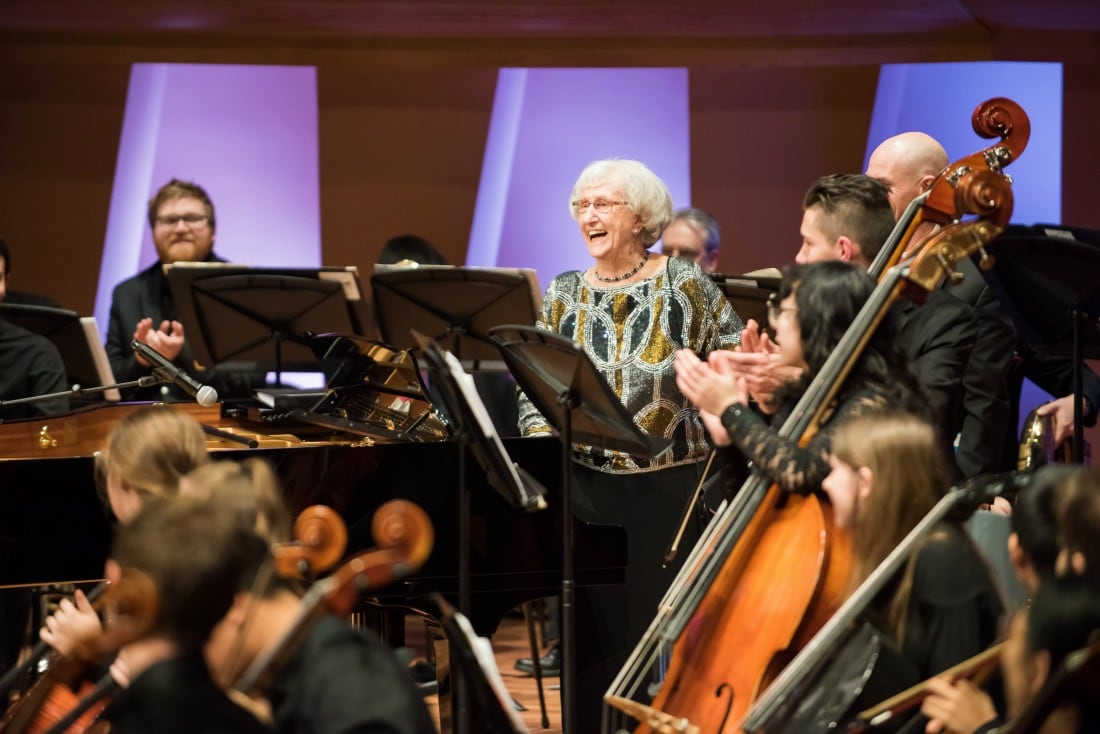Resident Mary Fenwick performs with the Calgary Youth Orchestra