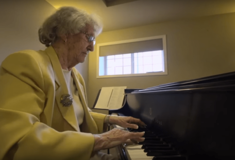 Garrison Green resident Mary Fenwick is learning to play the piano at age 90