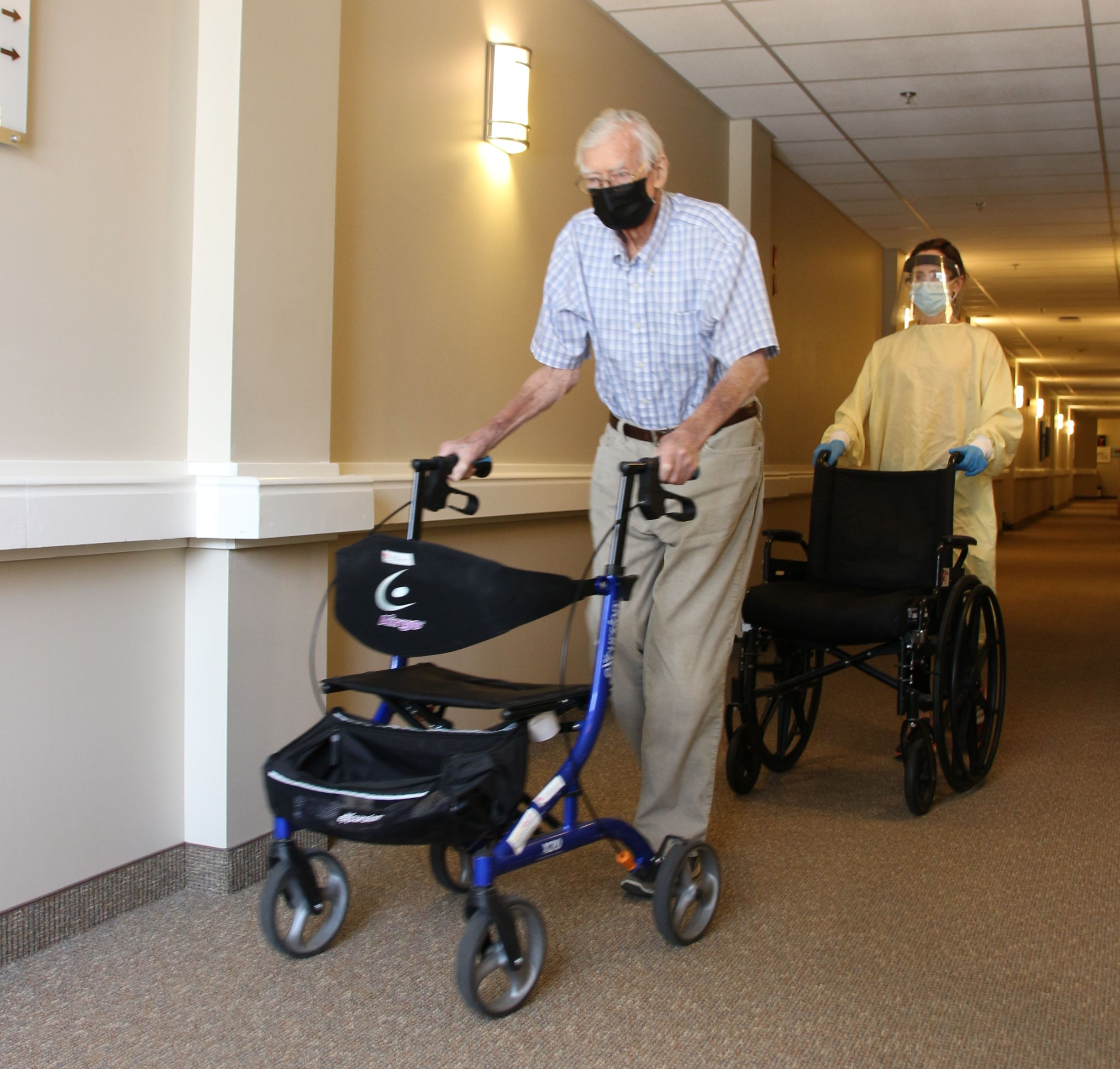 Nigel Way takes his walker for a spin