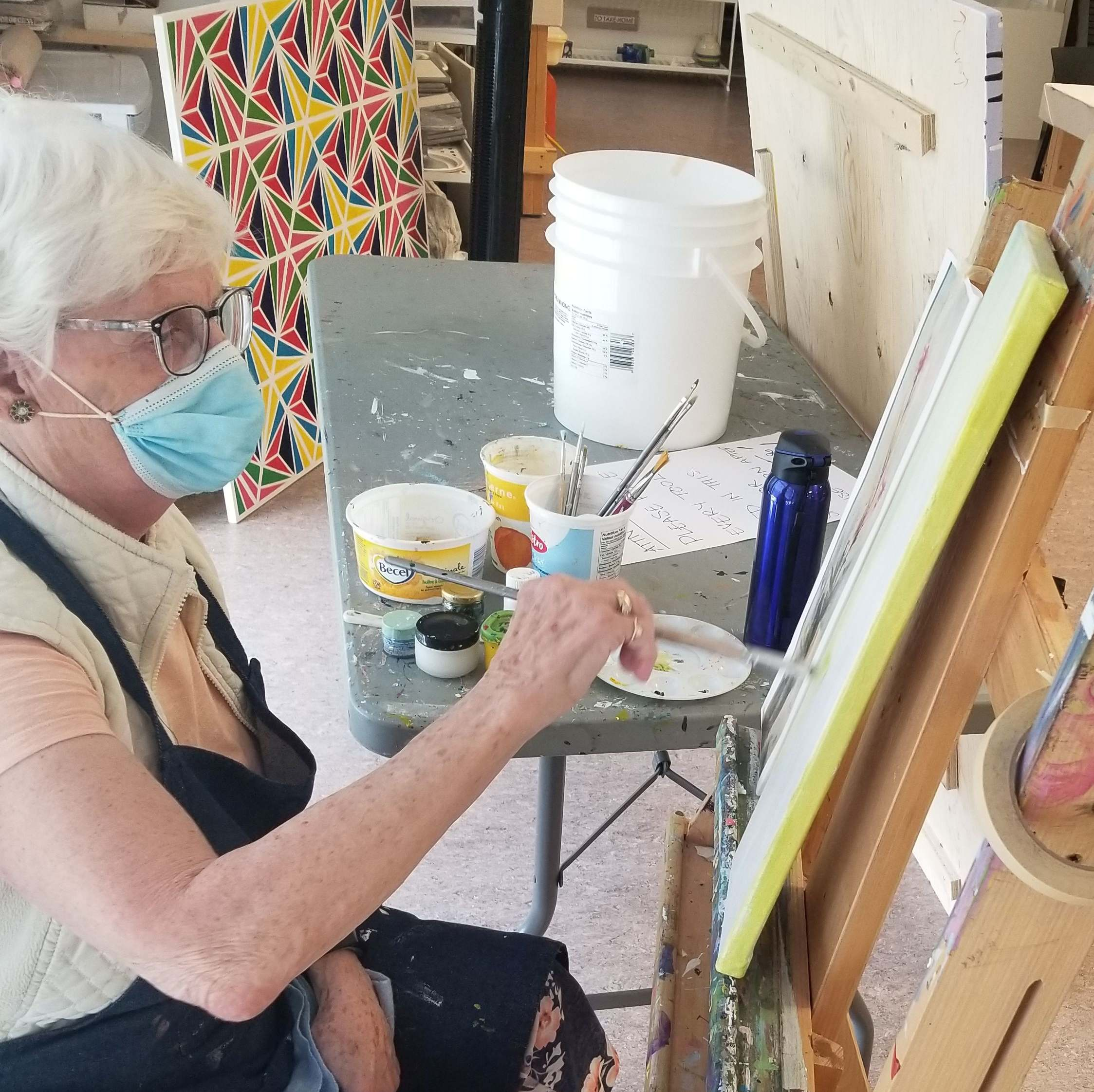 Fish Creek resident Olive Hein takes advantage of the re-opened studio