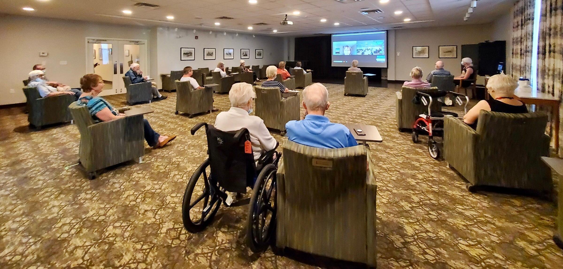 Residents in the Fish Creek theatre for the Music Appreciation program