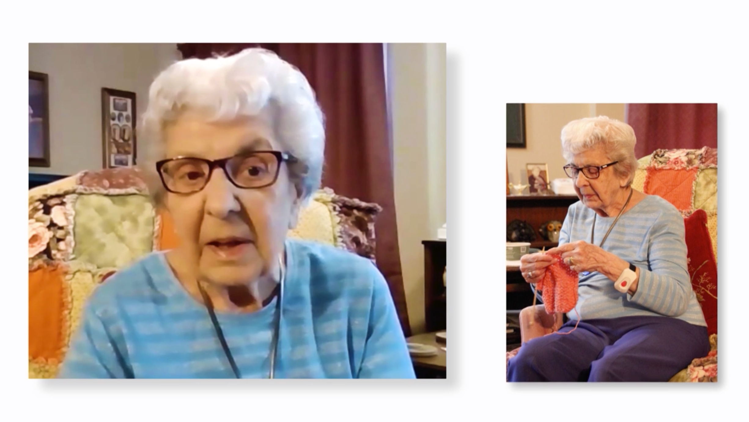 Resident Trudy Martin on a Zoom call in the commercial