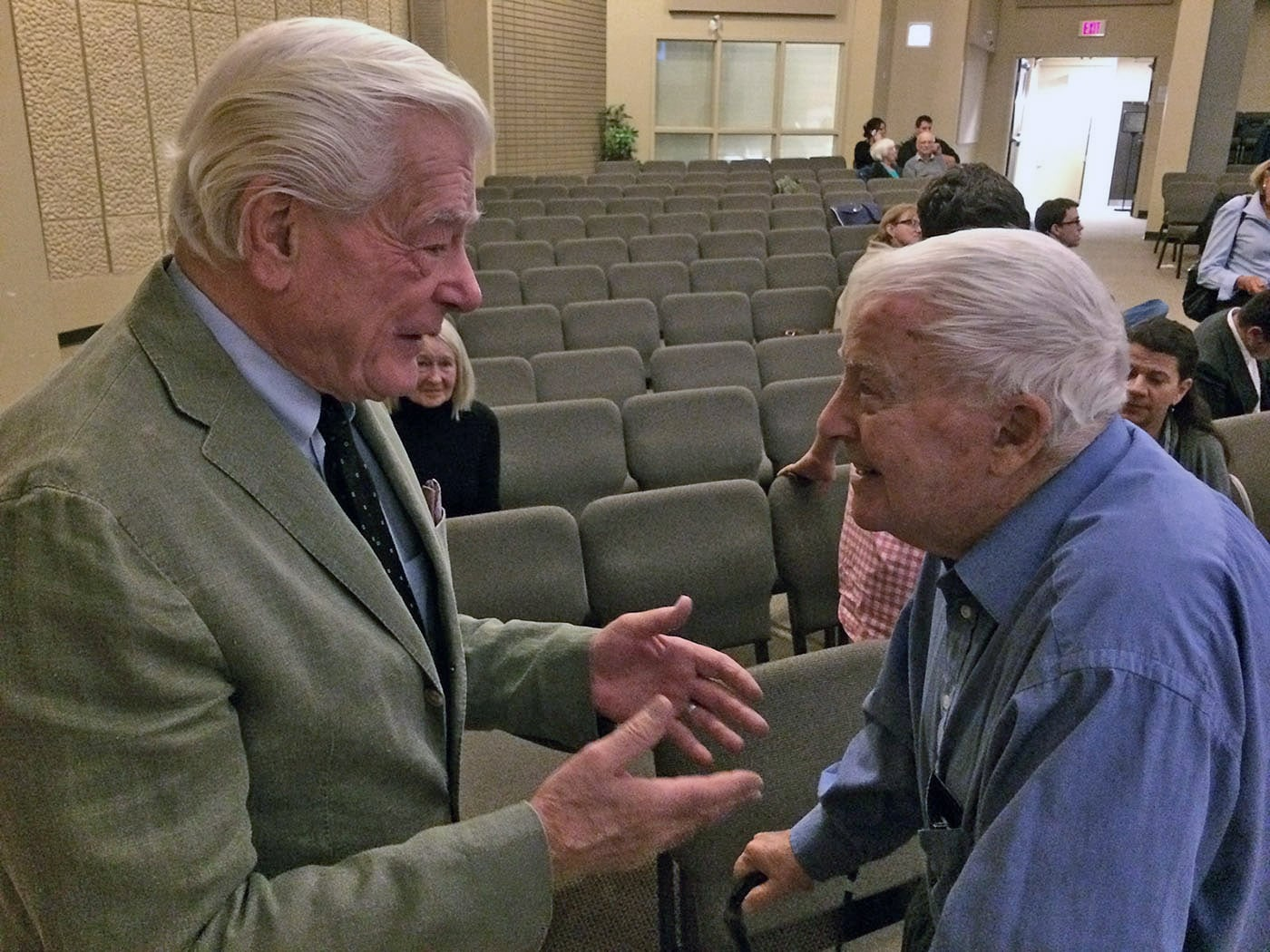 Cliff Hails, right, speaking with good friend Tommy Banks