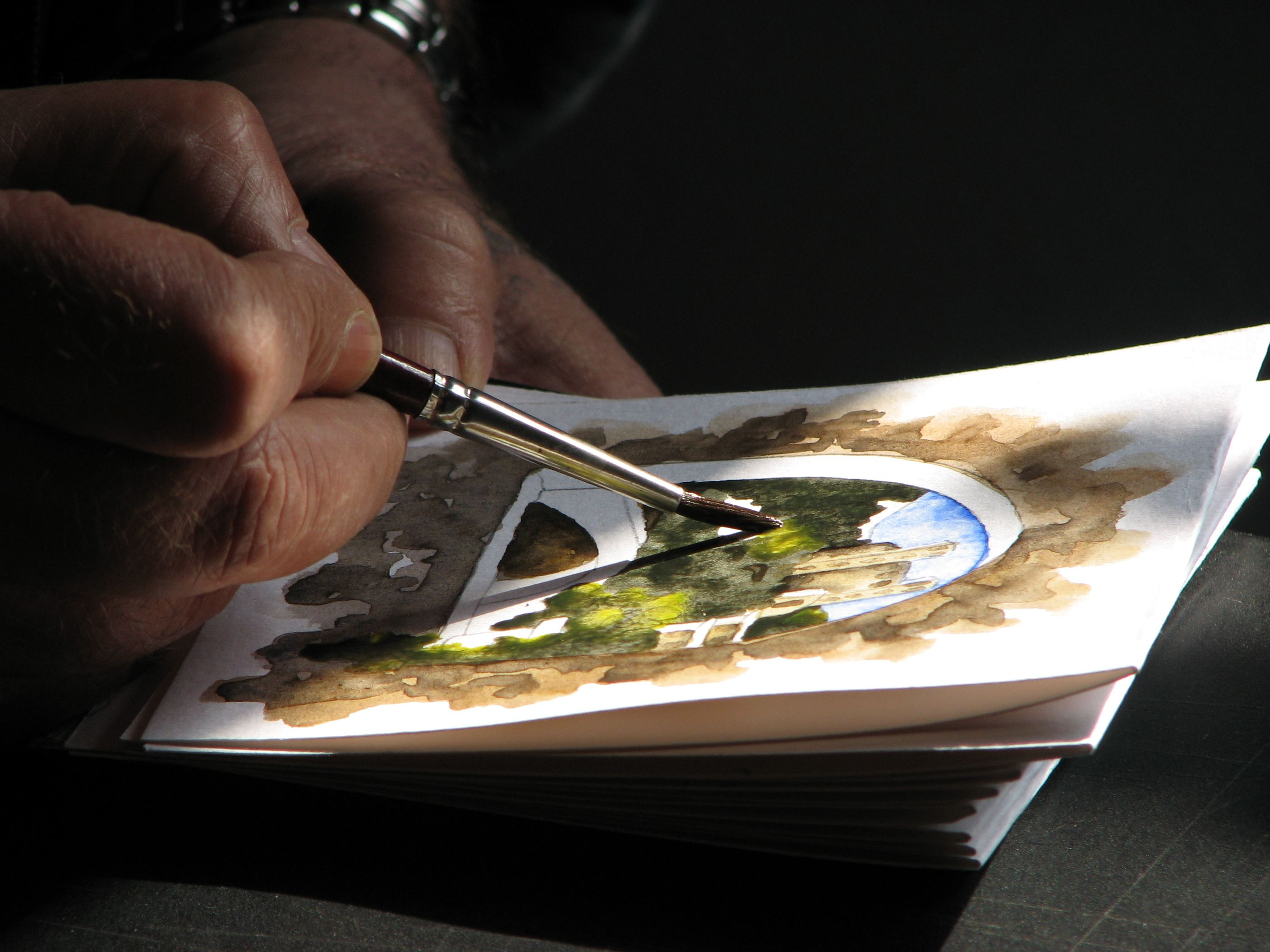 Watercolour workshops are being held in the Fish Creek courtyard