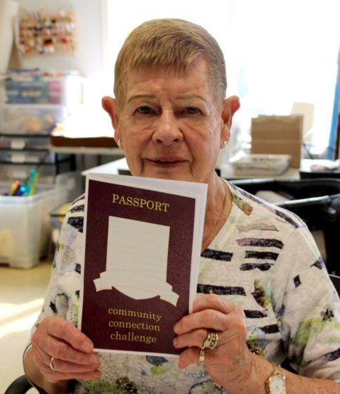 Kay Rasmussen with her Challenge Passport