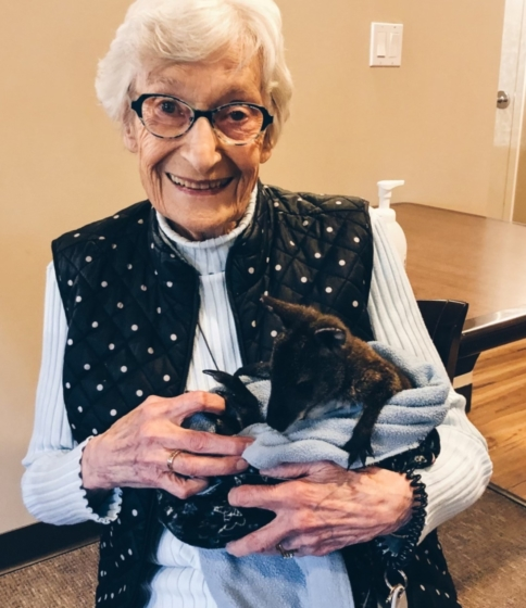 Resident Marina Vettergreen is all smiles holding a baby kangaroo